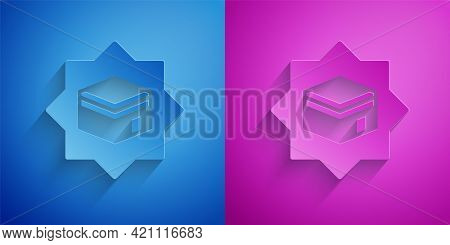 Paper Cut Kaaba Mosque Icon Isolated On Blue And Purple Background. Kaaba Hajj Mecca Pray Pilgrimage