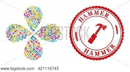 Hammer Bright Rotation Flower With Four Petals, And Red Round Hammer Corroded Stamp Imitation. Hamme