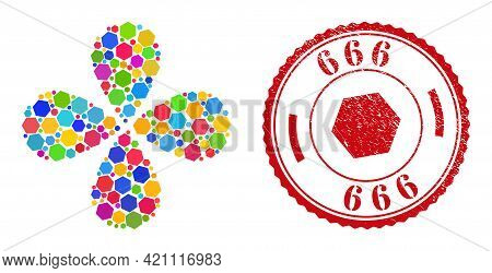 Hexagon Multicolored Curl Flower With Four Petals, And Red Round 666 Unclean Stamp Seal. Hexagon Sym