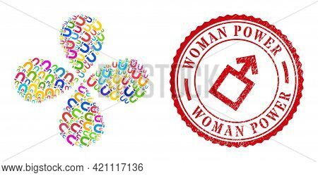 Horseshoe Magnet Multi Colored Rotation Flower With Four Petals, And Red Round Woman Power Unclean R