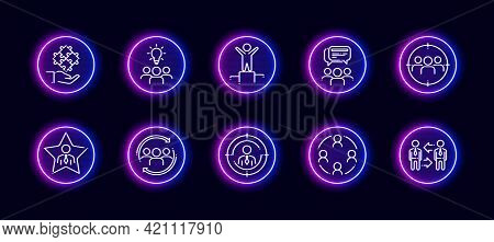 10 In 1 Vector Icons Set Related To Team Work Theme. Lineart Vector Icons In Neon Glow Style Isolate