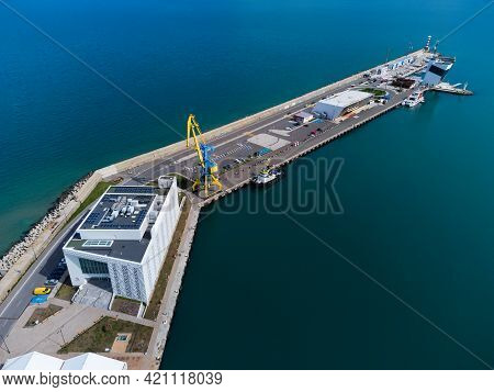 Aerial View Of Burgas Bay And The Seaport Of Burgas, Bulgaria.