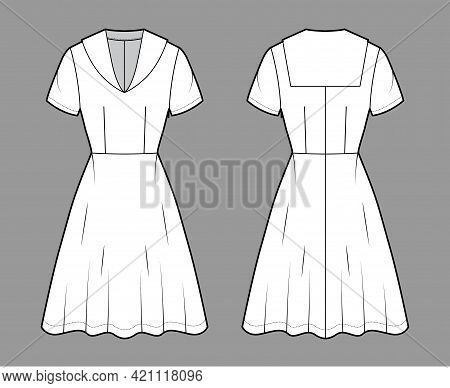 Dress Sailor Technical Fashion Illustration With Middy Collar, Short Sleeve, Fitted Body, Knee Lengt