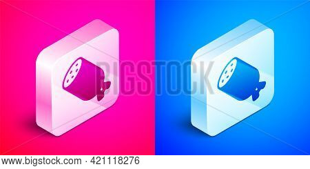 Isometric Salami Sausage Icon Isolated On Pink And Blue Background. Meat Delicatessen Product. Silve