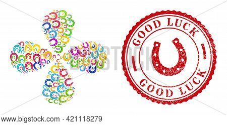 Lucky Horseshoe Colored Rotation Flower With Four Petals, And Red Round Good Luck Textured Badge. Lu