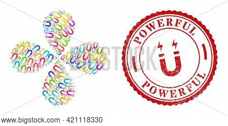 Magnet Field Bright Explosion Bang, And Red Round Powerful Dirty Rubber Print. Magnet Field Symbol I