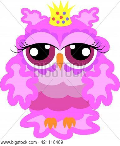 Glamorous Pink Owl-princess With Crown, Bird  Princess, Queen