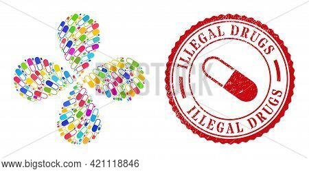 Medical Capsule Multicolored Rotation Flower Cluster, And Red Round Illegal Drugs Textured Stamp Imi