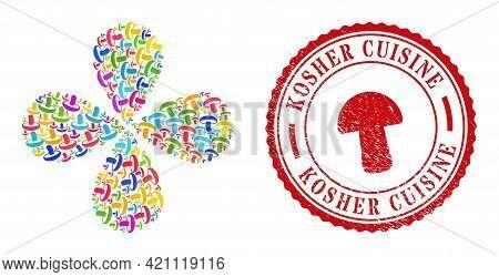 Mushroom Bright Centrifugal Burst, And Red Round Kosher Cuisine Dirty Stamp Seal. Mushroom Symbol In