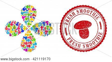 Mushroom Multi Colored Centrifugal Flower Shape, And Red Round Fresh Smoothie Grunge Rubber Print. M