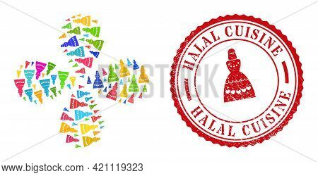 Muslim Bride Multi Colored Twirl Flower With Four Petals, And Red Round Halal Cuisine Textured Stamp