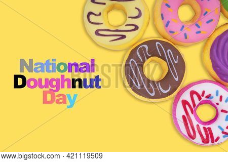National Doughnut Day Text On Yellow Background. Doughnut Day Concept