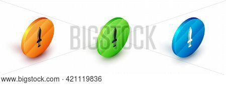Isometric Pirate Sword Icon Isolated On White Background. Sabre Sign. Circle Button. Vector