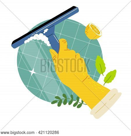 Hand In Yellow Gloves Clean Bathroom With Squeegee.clean With Natural Eco Detergent, Lemon, Mint, So
