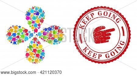 Right Index Finger Bright Rotation Flower Shape, And Red Round Keep Going Rough Stamp. Right Index F