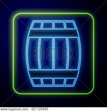 Glowing Neon Wooden Barrel Icon Isolated On Blue Background. Alcohol Barrel, Drink Container, Wooden