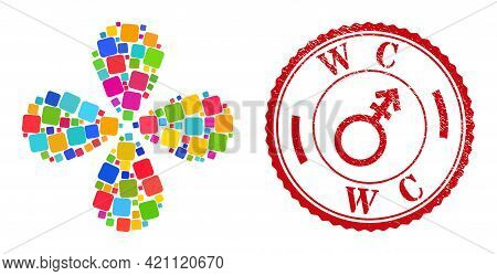 Rounded Square Multi Colored Swirl Abstract Flower, And Red Round Wc Dirty Stamp Imitation. Rounded