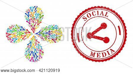 Share Multi Colored Rotation Flower Shape, And Red Round Social Media Grunge Rubber Print. Share Sym