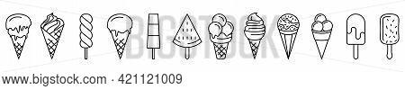 Ice Cream Icons. Set Of Linear Icons Of Ice Cream. Vector Ice Cream Icons Isolated