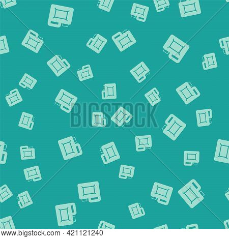 Green Canister For Motor Machine Oil Icon Isolated Seamless Pattern On Green Background. Oil Gallon.