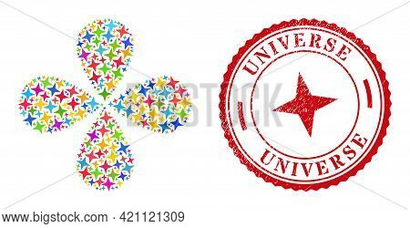 Space Star Multicolored Rotation Flower Shape, And Red Round Universe Rubber Stamp. Space Star Symbo