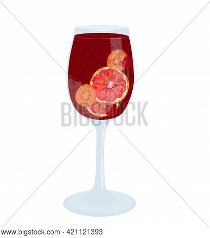 Glass Of Sangria Vector Stock Illustration. Spanish Summer Drink Made Of Fruit And Wine. Wine Glass
