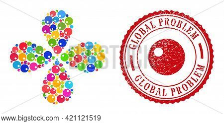 Sphere Colored Swirl Twist, And Red Round Global Problem Corroded Badge. Sphere Symbol Inside Round