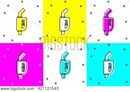 Set Gasoline Pump Nozzle Icon Isolated On Color Background. Fuel Pump Petrol Station. Refuel Service