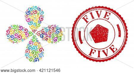 Spiral Colorful Exploding Burst, And Red Round 5 Rubber Stamp. Spiral Symbol Inside Round Stamp Prin