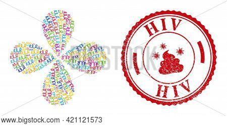 Spiral Microbe Multi Colored Swirl Flower With 4 Petals, And Red Round Hiv Dirty Seal. Spiral Microb