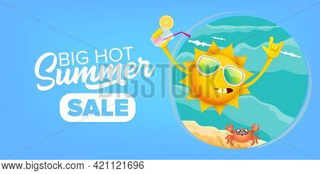 Summer Sale Cartoon Horizontal Web Banner Or Vector Label With Happy Sun Character Wearing Sunglasse