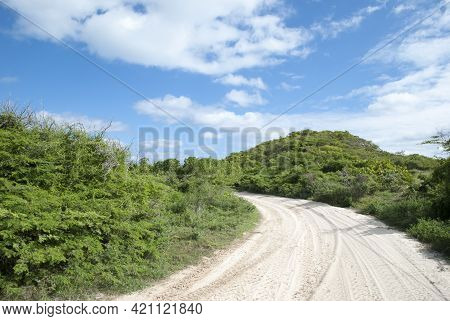 The Dusty Road In A Wilderness On Grand Turk Resort Island (turks And Caicos Islands).