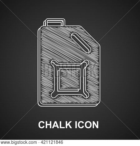 Chalk Canister For Motor Machine Oil Icon Isolated On Black Background. Oil Gallon. Oil Change Servi