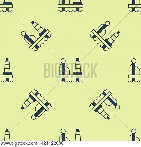 Blue Oil Platform In The Sea Icon Isolated Seamless Pattern On Yellow Background. Drilling Rig At Se