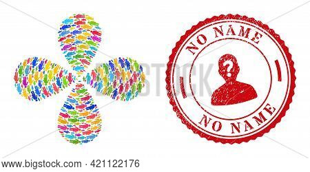 Third Gender Bright Swirl Flower With 4 Petals, And Red Round No Name Scratched Stamp Seal. Third Ge