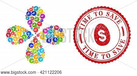 Time Colored Explosion Abstract Flower, And Red Round Time To Save Rubber Seal. Time Symbol Inside R