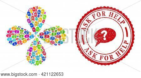 Unknown Message Colored Explosion Flower Shape, And Red Round Ask For Help Corroded Stamp Imitation.