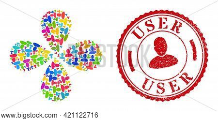 User Multicolored Rotation Flower With Four Petals, And Red Round User Grunge Stamp Print. User Symb