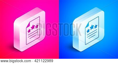 Isometric Declaration Of Independence Icon Isolated On Pink And Blue Background. Silver Square Butto
