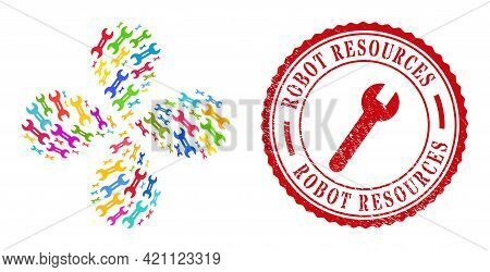 Wrench Tool Bright Exploding Twist, And Red Round Robot Resources Textured Stamp. Wrench Tool Symbol