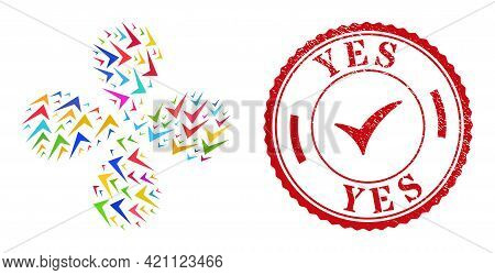 Yes Sign Colorful Centrifugal Motion, And Red Round Yes Rough Stamp Seal. Yes Sign Symbol Inside Rou
