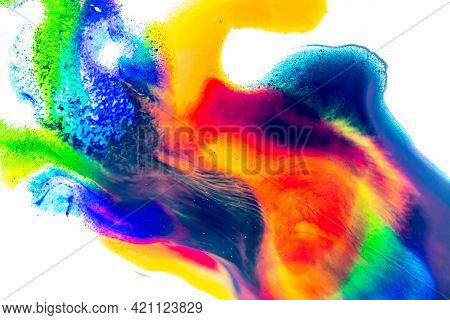 Watercolour Pattern. Abstract Colorful Paint Watercolor Texture Or Splash Ink Stain For Design Isola