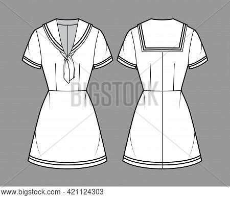 Dress Sailor Technical Fashion Illustration With Short Sleeve, Fitted Body, Middy Collar, Stripes, M