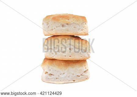 Three Stacked Homemade Buttermilk Biscuits Isolated White Background