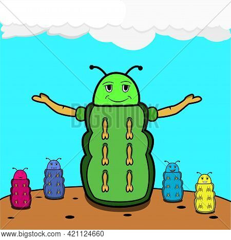 Vector Of Kids Day, Caterpilar With Kids And Earth  Background. Perfect For Logo, Industry,  Store,
