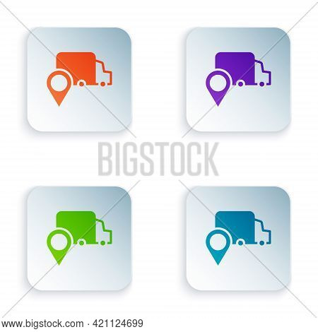 Color Delivery Tracking Icon Isolated On White Background. Parcel Tracking. Set Colorful Icons In Sq