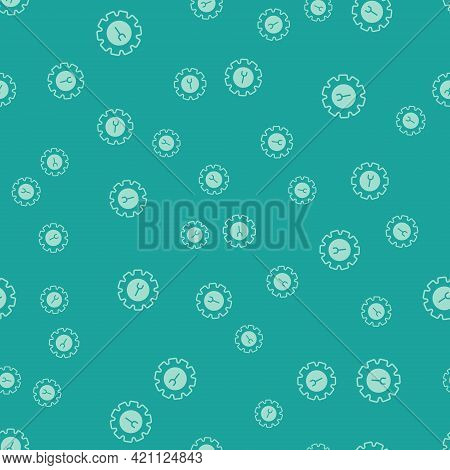 Green Wrench And Gear Icon Isolated Seamless Pattern On Green Background. Adjusting, Service, Settin