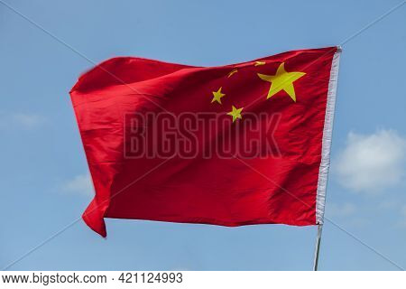 Windswept Flag Of The People`s Republic Of China