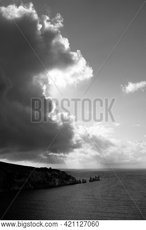 This Black And White Photo Is Of The Needles On The Tip Of The Isle Of Wight.the Needles Are 3 Huge,