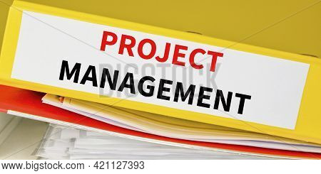 Project Management Binder In The Office. Business Anf Technology Concept.